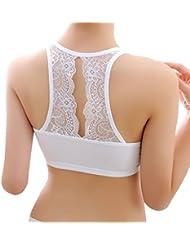 Smile YKK Women Spring Summer Sleeveless Lace Sport Padded Bra Tops