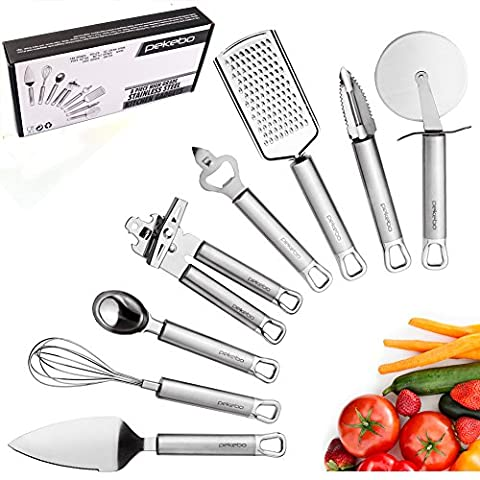 8 Piece High Grade Stainless Steel Kitchen Gadgets Tools Set Unique Thick Strength Most Useful Portable Chef Household Cooking Utensils - Satisfaction