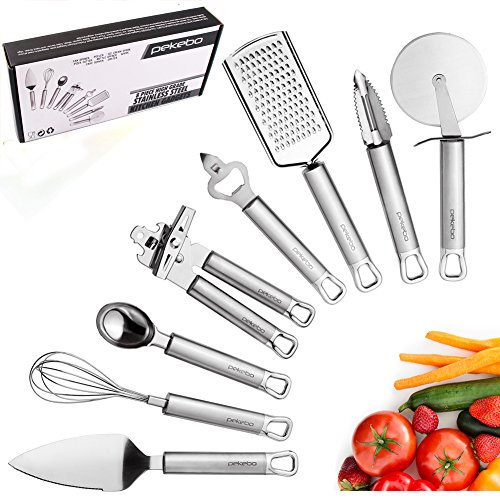 8 Piece High Grade Stainless Steel Kitchen Gadgets Tools Set Unique Thick Strength Most Useful Portable Chef Household Cooking Utensils - Satisfaction Guaranteed