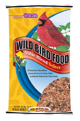 F.M. Brown's Wild Bird Food, 20-Pound, Value Blend Select Poly-Woven Bag (Bird Food Brown M F)