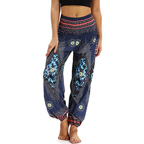 Nuofengkudu Damen Hippie Haremshose Capri Thai Hose Leichte mit Taschen Dünn Boho Ethno Blumenmuster Muster Strand Sommerhose Yogahose Blue Pfau -