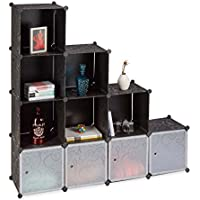 Relaxdays Meuble en Escalier Cubes Système, Plastique, Noir, 37 x 74,5 x 74,5 cm