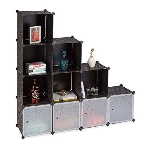 Relaxdays Stufenregal schwarz, Treppenregal Kunststoff, Regalsystem Steckregal, Standregal groß, 10 Fächer, DIY, black