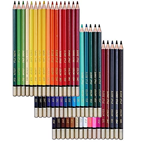 SUDEE STILE Coloured Pencils 48 Unique Colours Pack (No Duplicates) Art Drawing Set for Adult Colouring