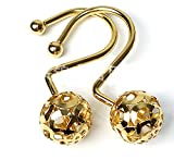 Love Creative Gold Shower Curtain Rings Hooks Easy Roller Ball Shower Curtain Rings Hooks 12 Count