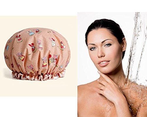 Duschhaube Damen Wasserdicht mit Gummiband für Spa Salon, Duschkappe Dusche Haar Kappen Doppelte Schicht für Frauen Mädchen Haarhaube Haarkappe Duschhaube Kaufen