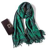 Wjsw Pure Wolle, dick, Druck Schal, Grün – Damen Herbst und Winter – hält warm, Wilde Shawls, Kann als Perfektes Verwendet Werden (240 x 60 cm)