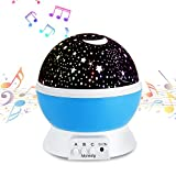 Multicolor Cute Stars Night Lamp Projector Lamp With Soft musical Lights 360 Rotating Round Night Light Projector Lamp Kids Bedroom Bed Lamp For Christmas Children Blue