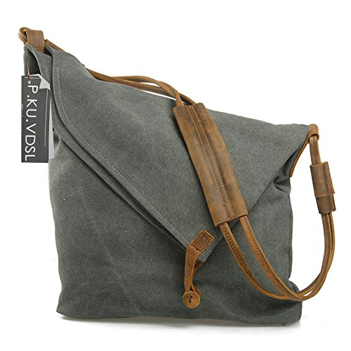 - 51jwMyUx7nL - Women's Cross-Body Bags, P.KU.VDSL Canvas Crossbody Shouder Bag Canvas Bag Travel Bag, College Style Messenger Bag Hobo Bag Unisex School Satchel, Vintage Bucket Handbag