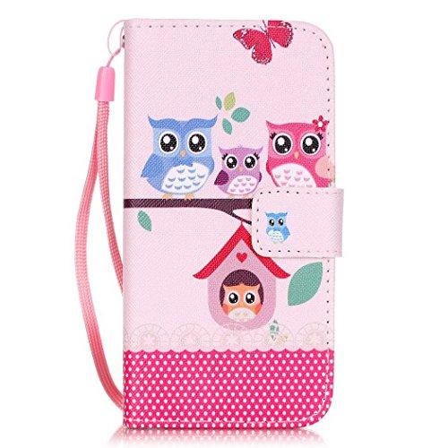 Ledowp Apple iPhone 8portafoglio in pelle, protezione integrale modello colorato design custodia in pelle custodia a portafoglio in pelle con slot per schede per iPhone 8 rosa Flower #6 Owl #1