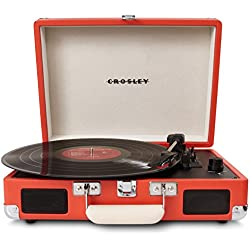 Crosley Cruiser - Tocadiscos de vinilo portátil (3 velocidades, altavoces estéreo integrados, con enchufe EU) diseño maletín, naranja