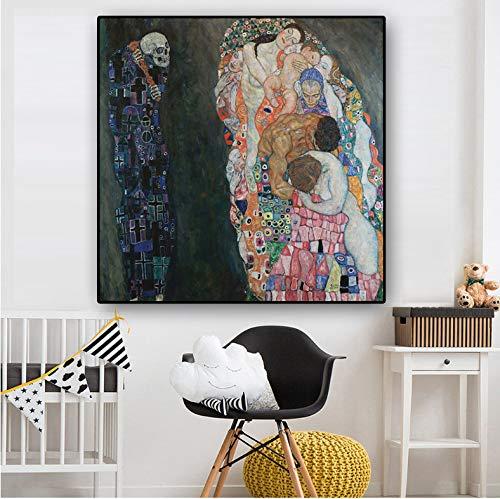 laonieshangmao DIY ölgemälde Gustav Klimt Tod und Leben reproduktion auf leinwand skandinavische Kunst Poster und drucke wandbild für Wohnzimmer kein Rahmen 40x50 cm -