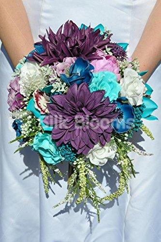Splendido Fresh touch blu, lilla e viola rosa e peonia bouquet da sposa con orchidee e Dalie - Anemone Bouquet Da Sposa