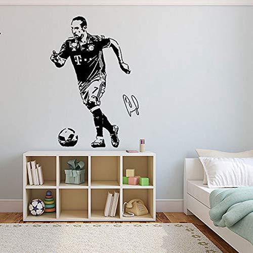 wandaufkleber 3d Wandtattoo Kinderzimmer Franck Ribéry Wandtattoo Fußball Fußball Spieler Frankreich Kreative Vinyl Wandaufkleber Sport für Kindergarten Kinderzimmer Jungen Geschenk