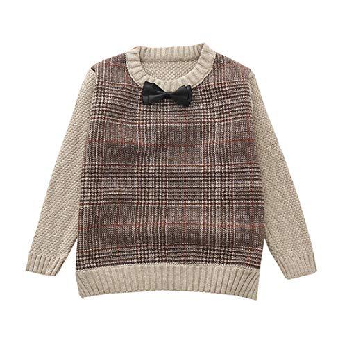 AIKSSOO Baby Boy Sweater Knitted Outfits Dickes Winter-Fleece-Jersey Size 130 (Brown) - Fleece-jersey Sweatshirt
