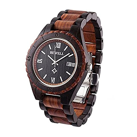 Bewell Date Display Metal Pointer Natural Wood Watch with Japanese Movement Wooden Wristwatch for Men W128AG(black and