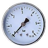 MagiDeal Manometer, Anschluß unten Gewinde 1/4'' NPT Side Mount 2.3''Face 6 Bar Druckmesser z.B. für Druckminderer, Wasserfilter, Druckanzeiger, Druckanzeige