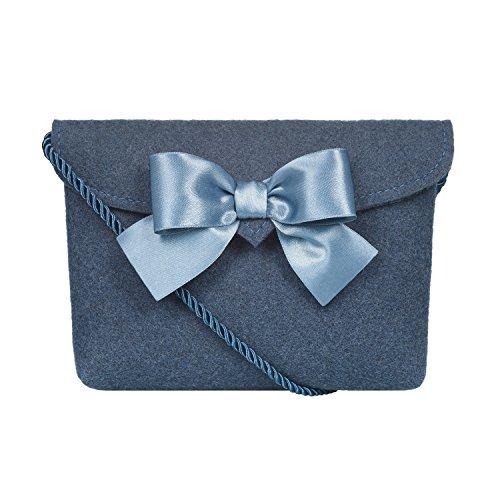 Almbock Trachten-Tasche Lilly in blau taubenblau - Trachtentasche handmade, handgemacht, aus 100% echtem Wollfilz, Tasche mit Schleife (Handgemachte Handtasche)