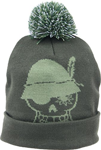 WIESNROCKER I WR1102-3 I Warme Winter Bommel-Mütze, Strick-Mütze dunkel-grün / khaki, Totenkopf vorne, Schriftzug hinten, One-Size, Unisex (Vorne Dunkel Grün)