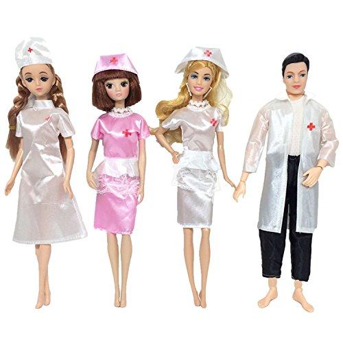 Kleidung für Barbie,Beetest 4 Set Puppe Spielzeug Krankenschwester und Arzt Karriere Bekleidung Kleidung Outfits Zubehör für Barbie Spielzeug Kinder Geburtstag Weihnachtsgeschenk (Arzt Outfit Kinder)