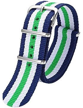 JSDDE Damen Uhren-Armband Klassisch Nylon Textil Uhrenarmband Nylon Uhrenarmband 22mm Uhrband Gruen-Weiss-Blau...