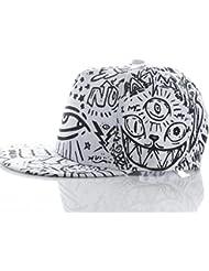 Malloom Moda Vintage Gorra de béisbol Bill sombrero plano Hippie Hiphop ojos casquillo ajustable (negro)