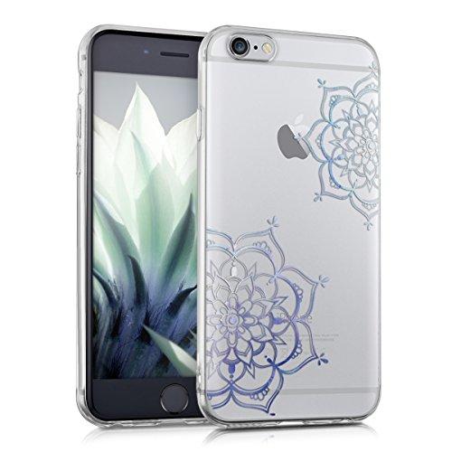 kwmobile Hülle für Apple iPhone 6 / 6S - TPU Silikon Backcover Case Handy Schutzhülle - Cover klar Indische Sonne Design Rosa Weiß Transparent Blumen Zwillinge IMD Blau Transparent