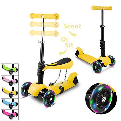 Hikole Smibie Scooter para niños Patinete de 3 Ruedas con Altura Adjustable Asiento extraíble y Adjustable Manillar en T LED Enciende la Rueda para niños Chicos Chicas 2-6 años de Edad
