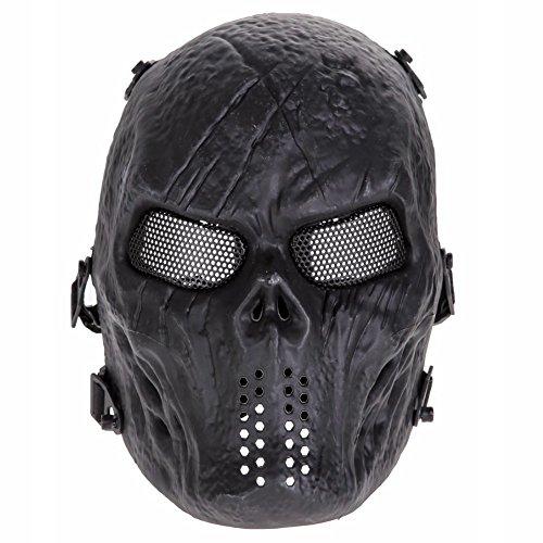 sehr angenehm zu tragende Airsoft Softair Paintball Maske Schutzmaske Mask Gotcha mit Totenkopf Schädel Design one Size (schwarz)