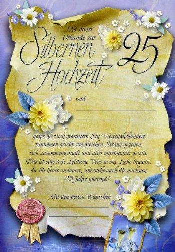 Riesen-Silberhochzeits Urkunde Grußkarte Zur Silbernen Hochzeit 25… A4