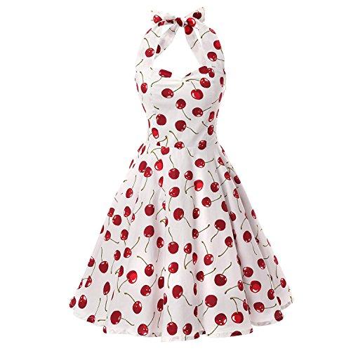 iHAIPI - Damen 50er Jahre Rockabilly Kleid Vintage Ärmelos Eine Vielzahl von Farben Tupfen und eine Vielzahl von Farbe Blumen Arten 20 (02. EU 38 (M), 010 Weiß Hintergrund Kirsche)
