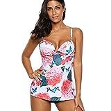 Bikini Damen, HUIHUI Tankini mit Bügeln UV Schutz Drucken Plus Size Retro Push Up Hohe Taille Brazilian Bademode Sommer Sport Sunflair Skiny Badeanzug Beachwear Set (XXL (EU:42-44), Rosa)