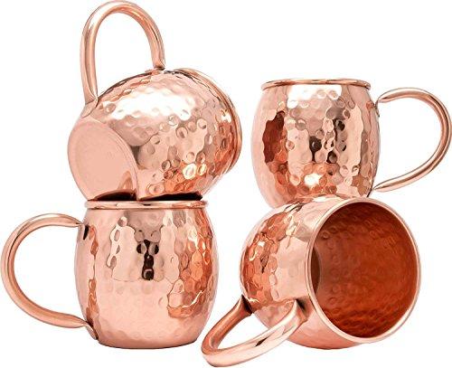 Rastogi Handicrafts Copper Barrel Mug for Moscow Mules - 16 oz - 100% Pure plain Copper - Heavy Gauge - No lining lacquer Coated (4) by Rastogi Handicrafts 16 Oz Barrel Mug
