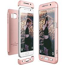 Ce-Link para Galaxy S6 caso, Delgado Peso Ligero Flexible 3 en 1 duro PC Back cover carcasa absorción de golpes anti-arañazos y gotas Bumper Frame totalmente protectora ultrafina para Samsung Galaxy S6, Oro rosa