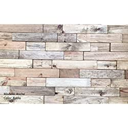 PANEL DE MADERA NATURAL con RELIEVE para REVESTIR PAREDES interiores (Roble)