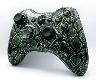Green Snake Skin Custom XBox 360 Hydro Dipped Wireless Controller Shell