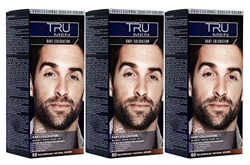 3x TRU MEN Bart-Coloration 60-Naturbraun Professional (3´er Pack)