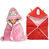 MY NEWBORN Baby Blanket Cum Baby Wrapper Set Of 2 Pcs. With Hood Cap Multipurpose Sleeping Bag Kit With Cute Cartoon On Hood (Pink-Orange)