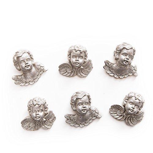 6 kleine silber-farbene Mini-Engel Engelkopf Engelfigur STREUDEKO MIT Klebepunkt 4 cm Tischstreu Streuartikel Zierstreu Zierschmuck Tischschmuck Hochzeit Kommunion Weihnachten Deko-Figur