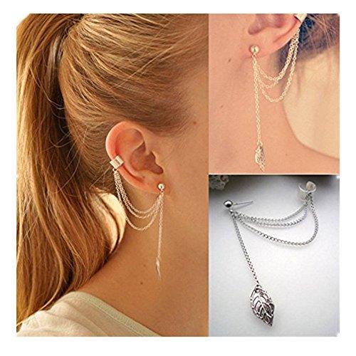 Damen Ohrringe Schmuck Ohrstecker stecker DAY.LIN Punk Persönlichkeit Clip Tassel Blatt Charme Metall Ohrclip Ohrstecker (Silber)