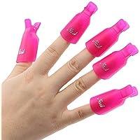 NO:1 10pcs Reutilizables uñas herramienta de removedor Clips Gel UV Esmalte de uñas Remover Herramientas, Rosa oscuro