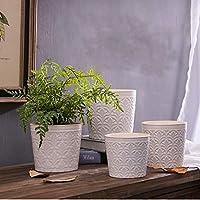 XULONG Pote De Flor De Cerámica Blanco Agrietado-4 Pedazos El Último Modelo Conveniente para Las Plantas Suculentas, Planta De Aire, Cuarto De Baño, Sitio De Estudio (Material De Cerámica)