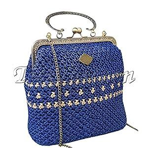 Vintage Umhängetasche Gestrickte Handtaschen Exklusive Blue Schultertasche Rahmen Kisslock Verschluss Einzigartige Tasche Nostalgie