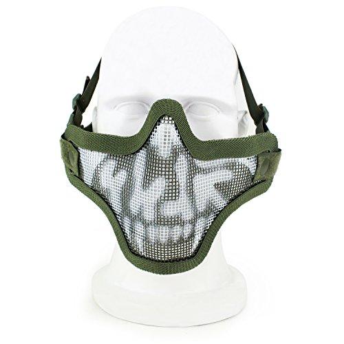 SGOYH Airsoft Paintball Taktisch Schutz Half Face Steel Metal Mesh Guard Masken für Kostümparty Halloween Shooting Cs Spiel (ODSK) (Spielen Halloween-spiele Scary Partys Zu Auf)