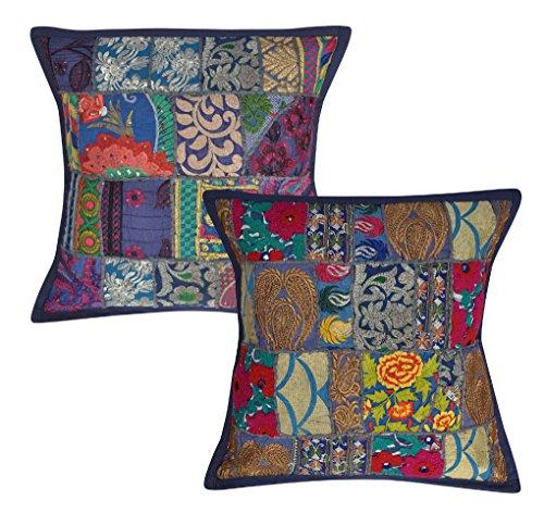 Room Deko-handgefertigt bestickt Baumwolle Schlafzimmer Kissenbezug, 45x 45cm Set von 2
