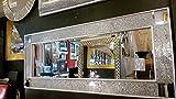 Premierinteriors Crackle Mosaik Glas Silber Rahmen Wandspiegel Voller Länge 120x 50cm Eck-Design