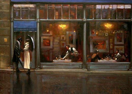 Keilrahmen-Bild - Brent Lynch: Fifth Avenue Cafe I 62 x 80 cm Leinwandbild Cafe New York Paar...