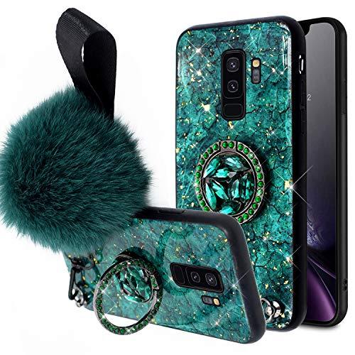 Surakey Cover Compatibile con Samsung Galaxy S9 Plus Custodia Silicone Morbido Glitter Brillantini Diamante Case con Flessibile TPU Bumper e Bling Anello Custodia per Samsung Galaxy S9 Plus,Verde