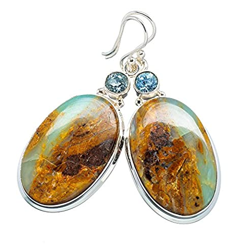 Ana Silver Co Peruvian Opal, Blue Topaz 925 Sterling Silver Earrings 2