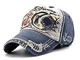 FENGFA Herren Vintage Distressed Baseball Cap Gewaschener Denim Basecap Snapback Cap (Blau)
